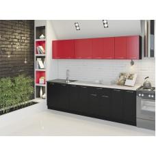 """Кухня """"Лана"""" 1,6 м. ЛДСП  (черный-красный)"""
