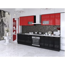 "Кухня ""Адель"" 1,8 м. МДФ Эллада (черный-красный глянец)"