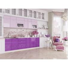 """Кухня """"Адель"""" 2,0 м. МДФ Принцесса (сиреневый-розовый глянец)"""