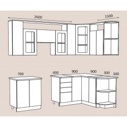 """Кухня """"Виола"""" 2,6 х 1,5 м. с учетом плиты 60 см. МДФ (дуб пепельный матовый)"""