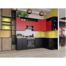 """Кухня """"Виола"""" 2,6 х 1,5 м. с учетом плиты 60 см. ДСП (черный-красный)"""