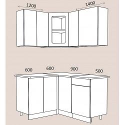 "Кухня ""Жасмин"" 1,2 х 1,4 м. Камелия МДФ (белый текстурный матовый)"